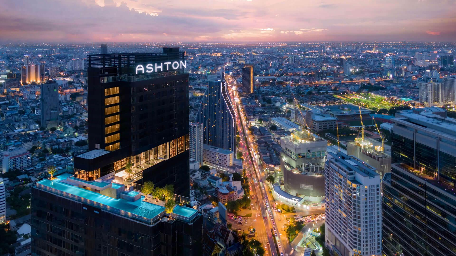 Drone shot of the Ashton condo complex in Bangkok, Thailand.