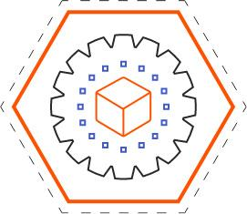 Image of a cube in a hexagon.