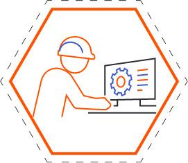 Comic image of a construction worker on their computer.