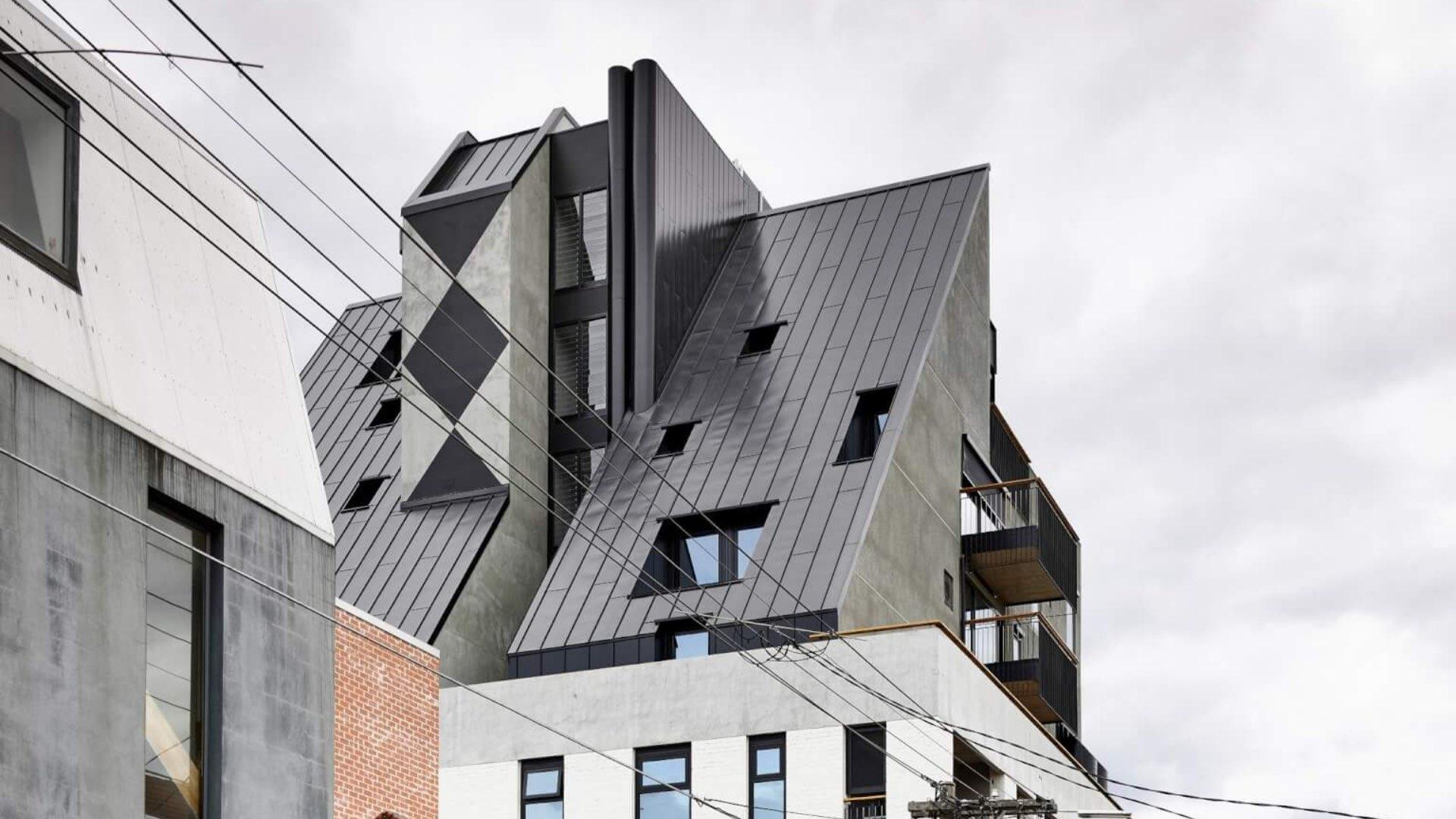 modern black slanted rooftop with multiple windows