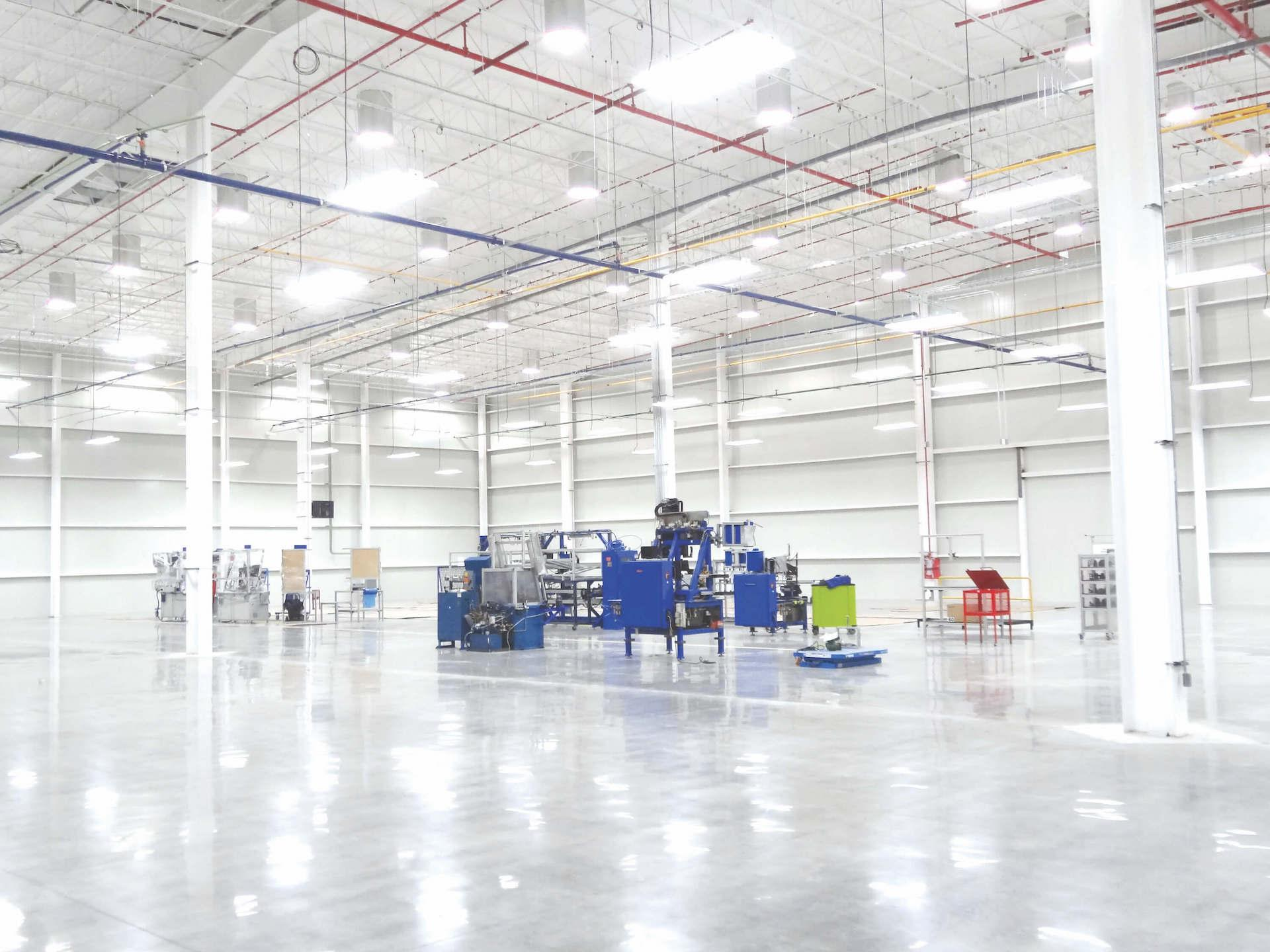 Large and bright factory interior, recently completed