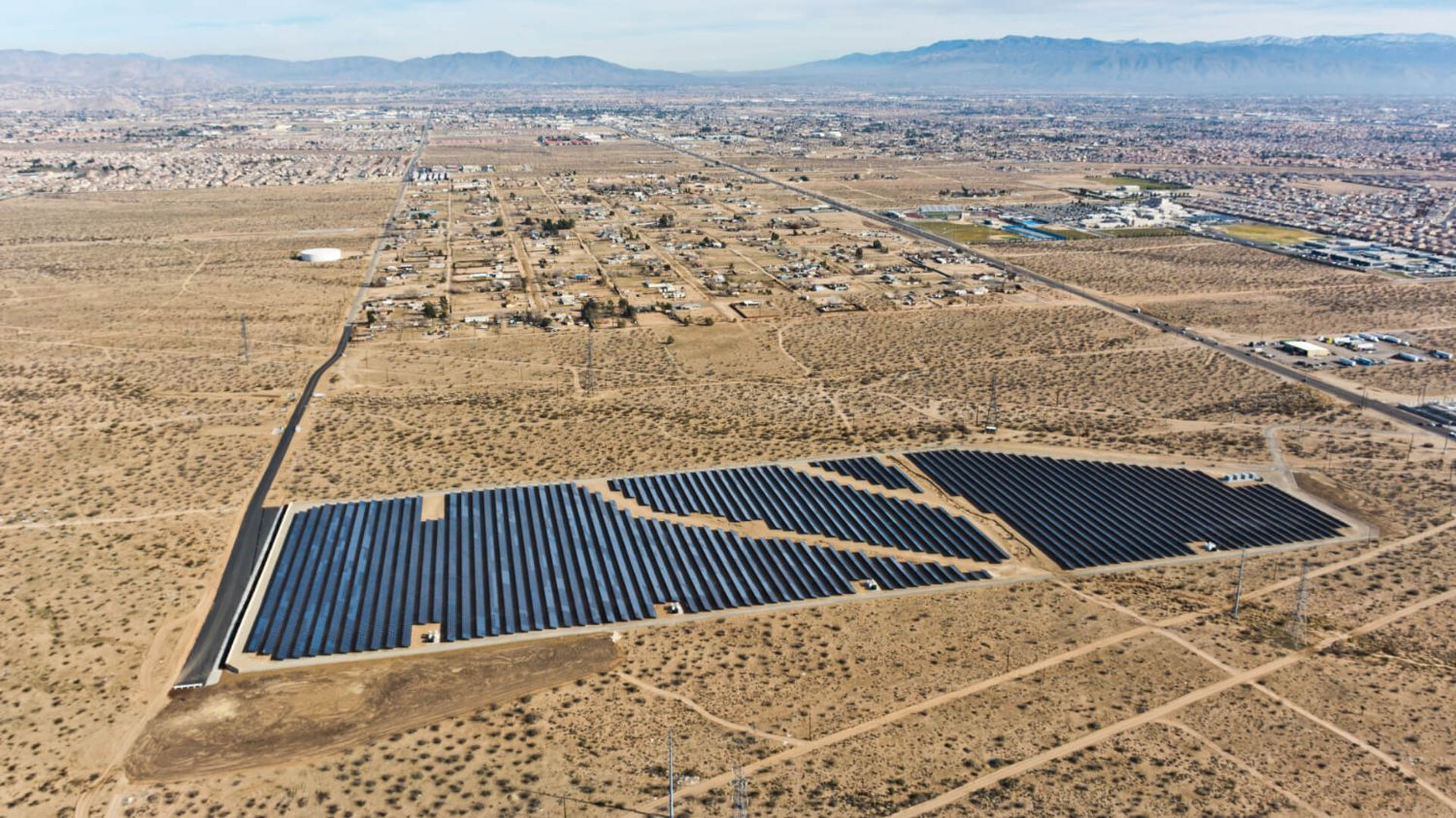 Arial view of a Solar array built by Borrego Solar