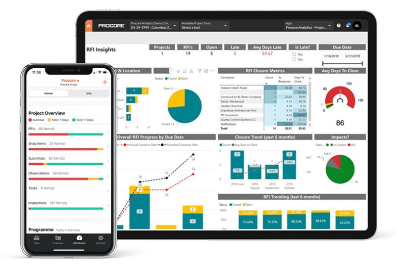 Procore on phone and tablet devices