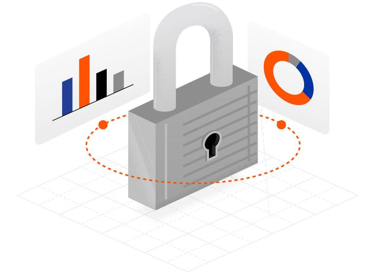 Illustrated lock with screens surrounding representing the security of Procore