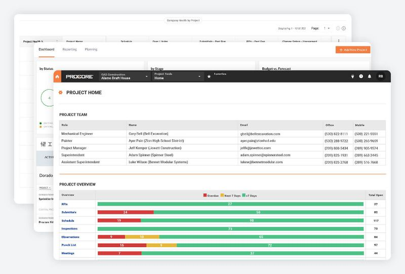 Procore for owners application screens