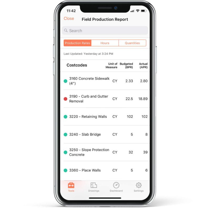 Procore app screen on mobile device