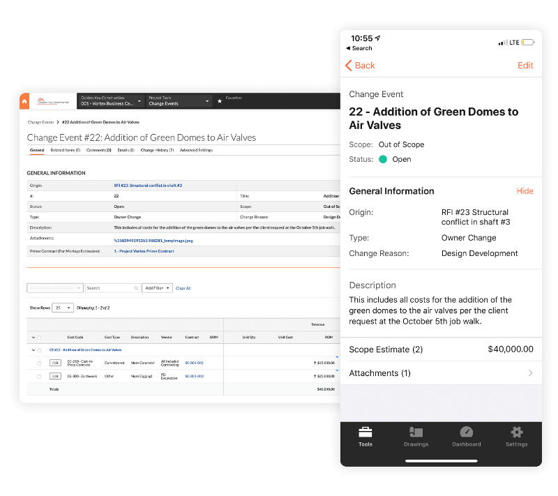 Procore app screens for Specialty Contractors