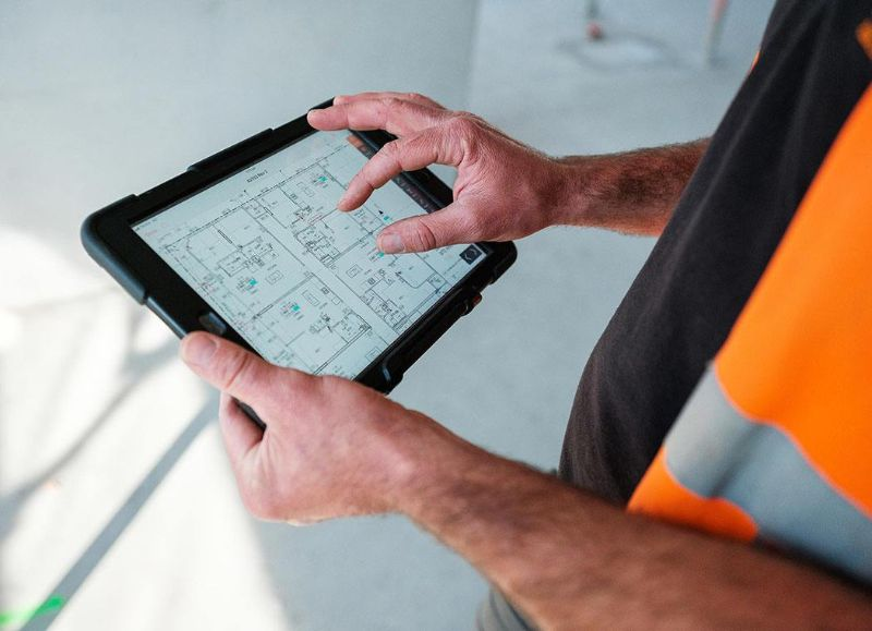 Customer viewing a site drawing on a tablet
