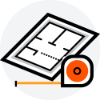 Blueprint and measuring tape icon