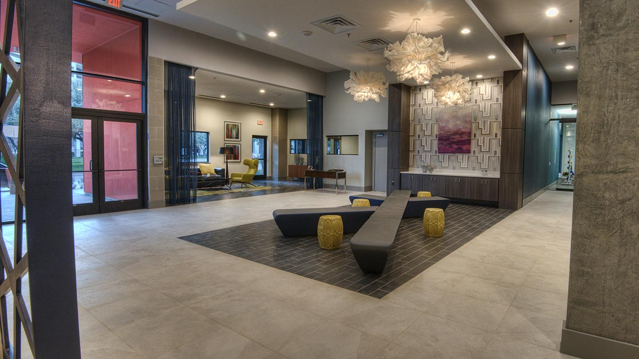 Stylish lobby of building built by KWA construction