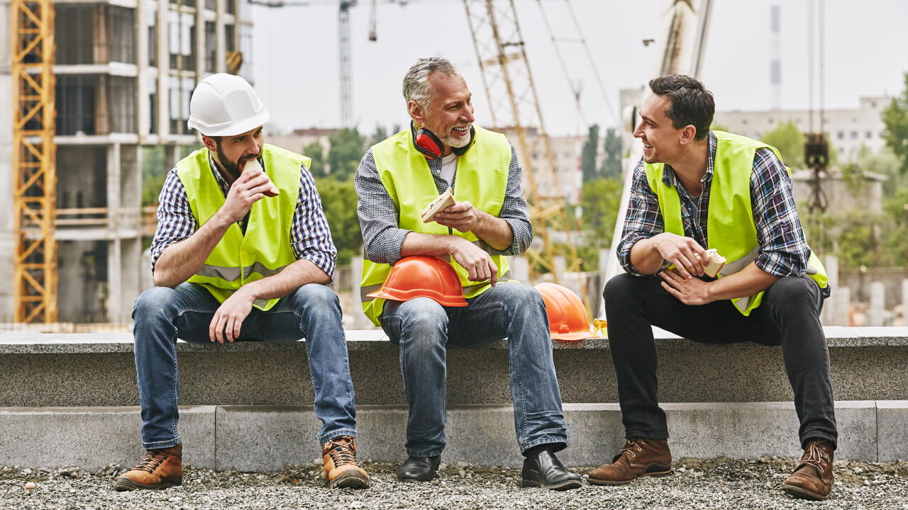 Construction workers taking a break on a jobsite