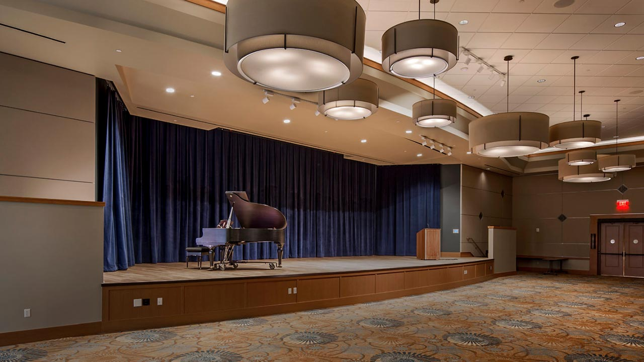Piano in concert hall built by Weitz