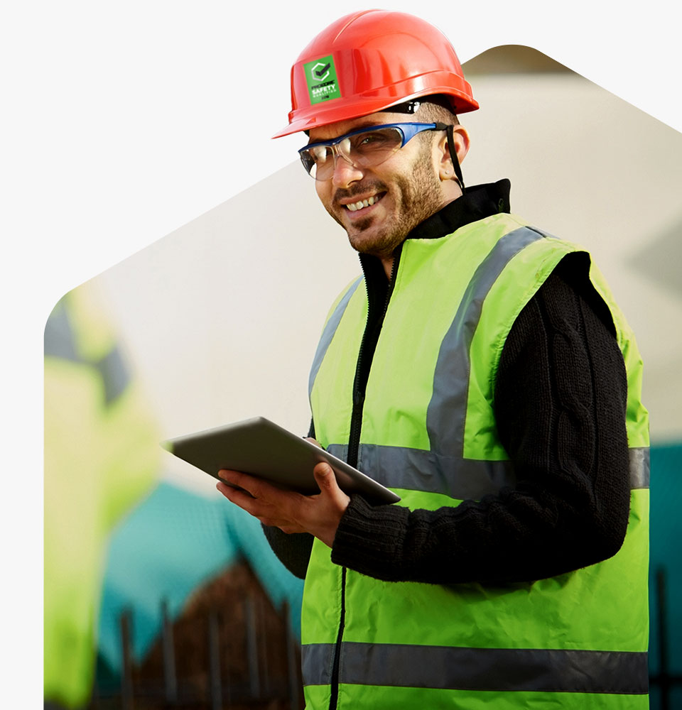 Procore safety qualified represented by man holding tablet