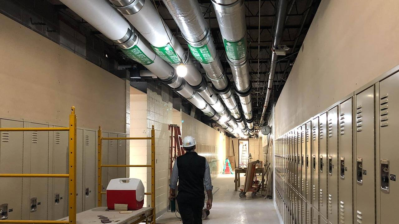 school hallway under construction