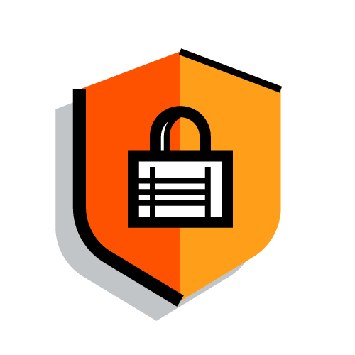 lock and shield security icon