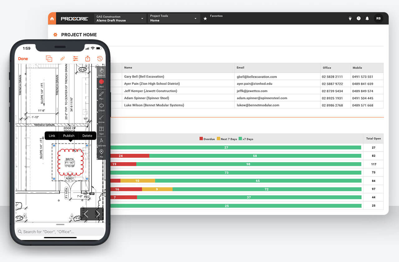 Procore Construction Management Software on an iPhone and web browser