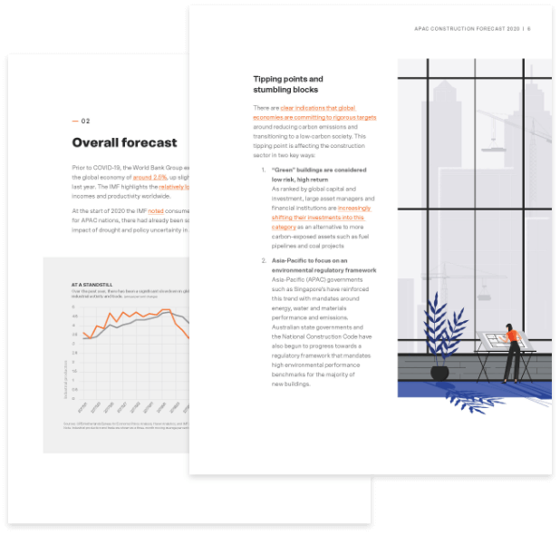 Inside pages of the construction forecast 2020 eBook