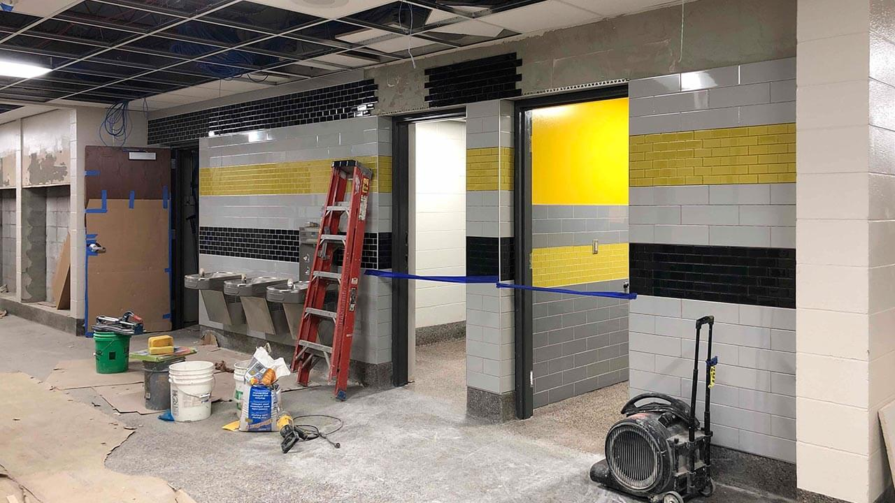 locker room under construction