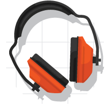 Sound muffling headephones icon