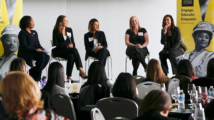 Speakers on stage at Women In Construction
